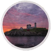 Dawn At The Nubble Round Beach Towel