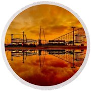 Dawn At Wildwood Pier Round Beach Towel