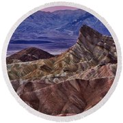 Round Beach Towel featuring the photograph Dawn At Zabriskie Point by Jerry Fornarotto