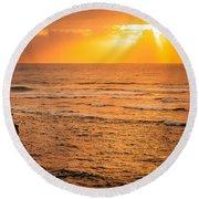 Dawn Fisherman Round Beach Towel