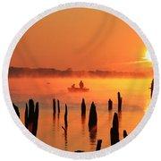 Dawn Fishing Round Beach Towel by Roger Becker
