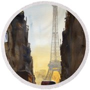 Dawn In Paris Round Beach Towel