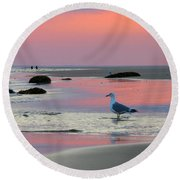 Round Beach Towel featuring the photograph Dawn In Pink by Dianne Cowen