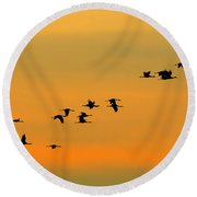 Dawn Migration Round Beach Towel by Tony Beck