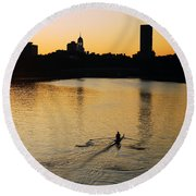 Dawn On The Charles Round Beach Towel by James Kirkikis