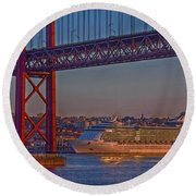 Dawn On The Harbor Round Beach Towel