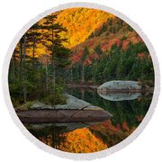 Dawns Foliage Reflection Round Beach Towel