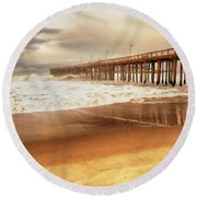 Day At The Pier Large Canvas Art, Canvas Print, Large Art, Large Wall Decor, Home Decor, Photograph Round Beach Towel by David Millenheft