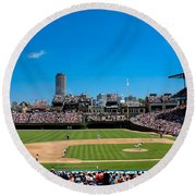Day Game At Wrigley Field Round Beach Towel by Anthony Doudt