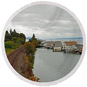 Day Island Bridge View 3 Round Beach Towel