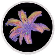 Day Lily #3 Round Beach Towel