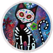Day Of The Dead Cat Round Beach Towel