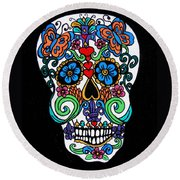 Day Of The Dead Skull Round Beach Towel by Genevieve Esson