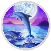 Day Of The Dolphin Round Beach Towel by Robin Koni