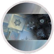 Round Beach Towel featuring the photograph Snowflake Collage - Daybreak by Alexey Kljatov