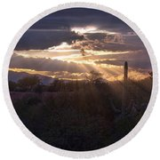 Round Beach Towel featuring the photograph Days End by Dan McManus