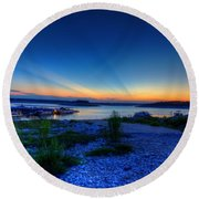 Round Beach Towel featuring the photograph Days End by Dave Files