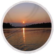 Round Beach Towel featuring the photograph Sunset Fishing by Debbie Oppermann