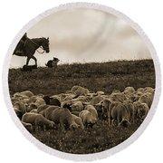 Days End Sheep Herding Round Beach Towel