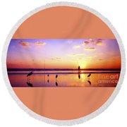 Daytona Beach Fl Surf Fishing And Birds Round Beach Towel