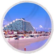 Daytona Main Street Pier And Beach  Round Beach Towel
