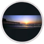 Daytona Sun Glow Pier  Round Beach Towel