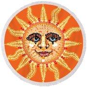 Dazzling Sun Round Beach Towel by R  Allen Swezey