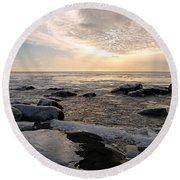Dazzling Winter On Lake Superior Round Beach Towel by James Peterson