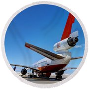 Round Beach Towel featuring the photograph Dc-10 Air Tanker  by Bill Gabbert