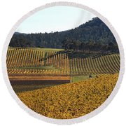 golden vines-Victoria-Australia Round Beach Towel