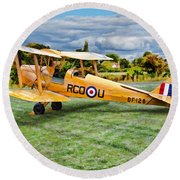 De Havilland Dh82 Tiger Moth Round Beach Towel