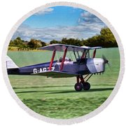 De Havilland Tiger Moth 2 Round Beach Towel