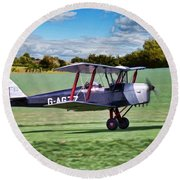 De Havilland Tiger Moth Round Beach Towel