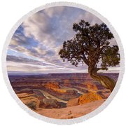 Dead Horse Point Sunrise Round Beach Towel by Dustin  LeFevre
