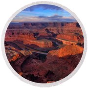 Dead Horse Point Sunrise Round Beach Towel