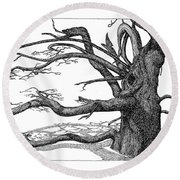 Dead Tree Round Beach Towel by Daniel Reed