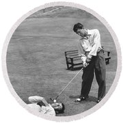 Dean Martin & Jerry Lewis Golf Round Beach Towel