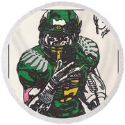 De'anthony Thomas Round Beach Towel by Jeremiah Colley