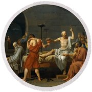 Death Of Socrates Round Beach Towel