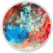 Round Beach Towel featuring the painting Decalcomaniac Colorfield Abstraction Without Number by Otto Rapp