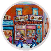 Decarie Hot Dog Restaurant Ville St. Laurent Montreal  Round Beach Towel