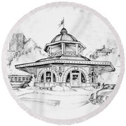 Decatur Transfer House Round Beach Towel