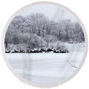 December Lake Round Beach Towel