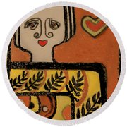 Round Beach Towel featuring the painting Deco Queen Of Hearts by Carol Jacobs