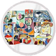 Deconstructing Picasso - Women Sad And Betrayed Round Beach Towel by Esther Newman-Cohen