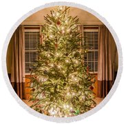 Round Beach Towel featuring the photograph Decorated Christmas Tree by Alex Grichenko