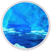 Round Beach Towel featuring the photograph Deep Blue Iceberg by Amanda Stadther