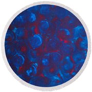 Round Beach Towel featuring the painting Deep by Jacqueline McReynolds