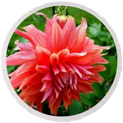 Round Beach Towel featuring the photograph Deep Pink Dahlia by Donna Walsh