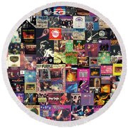 Deep Purple Collage Round Beach Towel